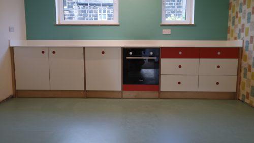 70's theme handmade birch plywood kitchen
